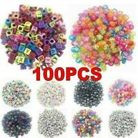 DIY Spacer Acrylic Beads Cube Alphabet Letter Bracelet Jewelry Making 100X/Pack