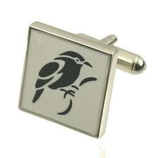 Pair Bird Print Cufflinks Optional Engraved Personalised Box