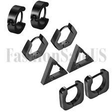 Black Tone Men Women Stainless Steel Triangle Hoop Charm Huggie Earrings 8PCS