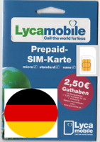 Lycamobile GERMAN, SIM. MICRO/STD or NANO size. GERMANY. + extra credit**