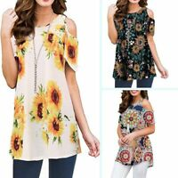 Floral loose t shirt womens short sleeve summer ladies casual blouse crew neck