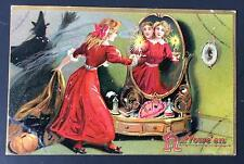 HALLOWEEN Vintage TUCK'S Series 150 Postcard Art Publishers Mirror Reflection