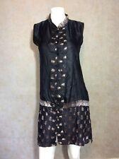 India Silk Dress Black Size Small