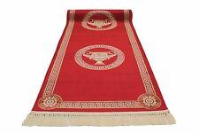 Teppich Läufer 80x300 cm Rot Kunst-Seide Mäander Medusa Amphore Carpet versac