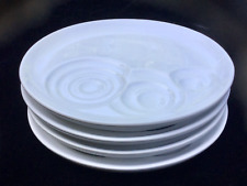 "Trudeau White Ceramic Plates for Fondue or Kid Meals/7-3/8"" Diameter Set of 4"