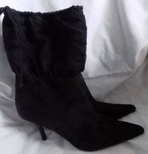 Black Ankle Boots Heels Faux Suede Mid Calf Pointy Toe Sz 11  CUTE!!!