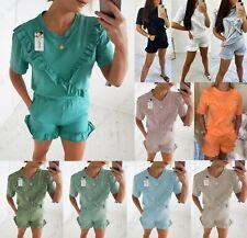 Womens Ladies Frill Ruffle Short Sleeve Top Shorts 2PCS Co ord Set Tracksuit New