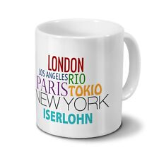 "Städtetasse Iserlohn - Design ""Famous Cities in the World"""