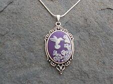 HUMMINGBIRD CAMEO NECKLACE (humming bird / purple) - .925 SILVER PLATE - QUALITY