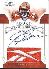 Jermaine Gresham National Treasures Jersey Reebok Logo Rookie On card Auto 02/10