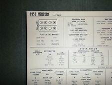 1958 Mercury Park Lane 430 CI V8 SUN Electric Tune Up Chart Sheet Great Shape!