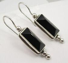 "925 Sterling Silver Original BLACK ONYX PYRAMID Stone TRIBAL Earrings 1.5"" NEW"