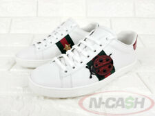 BIDSALEONLY! AUTHENTIC $895 GUCCI Ace Embroidered White Size 35 Leather Sneakers