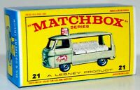 Matchbox Lesney No 21  COMMER BOTTLE FLOAT empty Repro E style Box