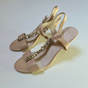 Monsoon Womens Nude Size 6 Strappy Stiletto High Heel Shoes Wedding