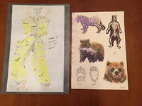 Lot of Two Watercolor Paintings Costume Design And Bear Slight Water Damage