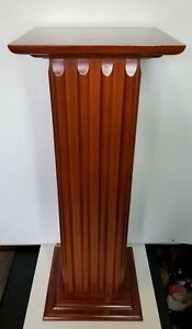 "Vintage Ribbed Wood Square 30"" Pillar Pedestal Plant Stand"