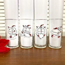 Libbey Santa Juice Glasses Christmas Tumblers Skiing Skating Snowball 4- 8oz NIB