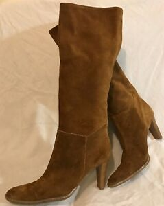 Dune Brown Knee High Suede Lovely Boots Size 38 (128Q)