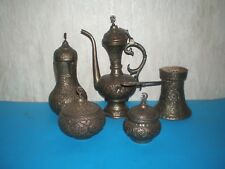 Big lot from five copper Arabic Persian court/vessels, Islamic of 19th cenury