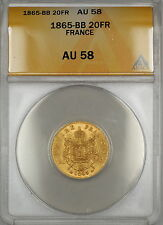 1865-BB France 20 Francs Gold Coin ANACS AU-58 SG