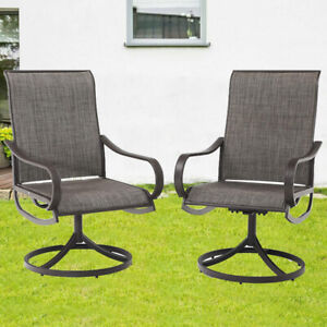 Set of 2 Patio Dining Chairs Dining Swivel Bistro Rocker Chairs with Black Frame