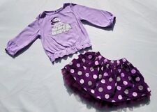 Gymboree Girls Shirt Skirt Size 2T Fair Isle Sparkle Polka Dot Polar Bear Purple