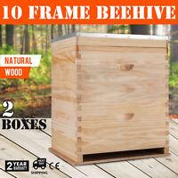 Bee Hive 2 Layers Complete Box Kit (1 Deep-1 Medium) Langstroth Beekeeping