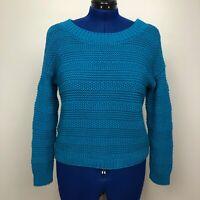 Ann Taylor LOFT Women's Size S Cable Knit Blue Long Sleeve Sweater 100% Cotton