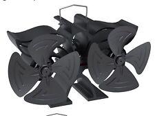 Heat powered stove fan with twin blade twin motor fan 8 blade stove fan