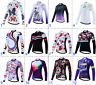 Womens Windproof Rear Pockets Breathable Long Sleeve Jersery Full Zipper Bicycle