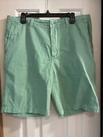 Cremieux shorts Mens 36 x 9 flat Front green cotton casual bermuda back flap