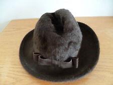Strowbridge Clothier England Brown Furry Fedora  Grosgrain Ribbon Band & Bow