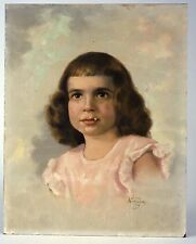 Mid Century Oil Painting by Gene Anthony, Portrait of a Child, circa 1954