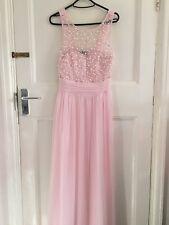 Long Baby Pink Maxi Dress Sleeveless Party wear Pearls Patterned Prom Dress