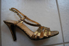 Shades of Gold & Brown Snakeskin Pattern NINE WEST Ankle Strap Open Toe Heels 9