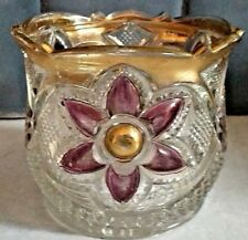 "Antique? Pressed Glass Vase~Purple/Gold Flowers~3.75""~Diamond Pattern~Spoke Base"