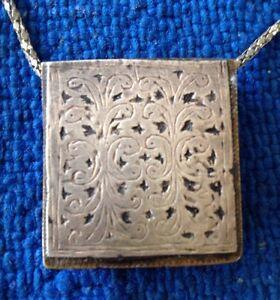 Vintage Koran Box Pendant Amulet Carved Silver & Brass Moroccan Islamic