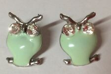 Owl Shaped Ear Rings.  Silver Metal With Green Body.  2cm High.  Hook Fastening