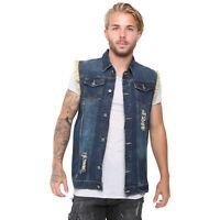 Men's Retro Denim Vest Jeans Slim Fit Jacket Sleeveless Cowboy Biker Waistcoats
