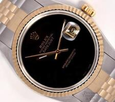 Rolex Datejust Two Tone 36mm Watch Stainless Steel 18k Fluted Bezel Onyx Dial