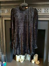 H&M TREND BLACK PUFF SLEEVE VELOUR VELVET FITTED MINI DRESS - SIZE LARGE BNWOT