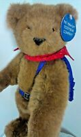 Vermont Teddy Bear Plush Brown Grizzly BackPack Jointed Stuffed Animal Blue 1988
