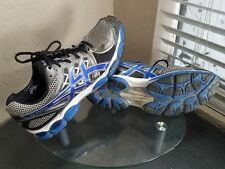 Asics Gel-Nimbus 14 Mens Size 13 2E Extra Wide Silver / Blue Running Shoes
