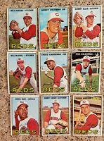 Lot of 9 1967 Topps CINCINNATI REDS vintage baseball cards, Milt Pappas,