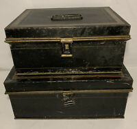 Lot of 2 Vintage KREAMER Metal Black Spice Box Tin Lidded Home Decor Kitchen Old