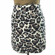 Ann Taylor LOFT 2 Small Skirt Short Ivory Black Gray Blush Leopard Dot Pocket