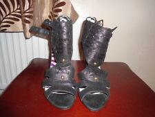 Ladies Next Black Leather Strappy Stiletto Shoes size 4