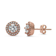 Rose Gold Plated Halo Cz Stud .925 Sterling Silver Earrings