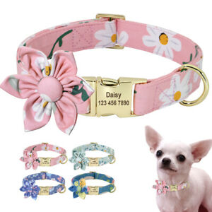 Flower Girl Dog Collar Custom Personalized Buckle for Female Dogs Floral Pattern